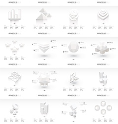 White infographic 3d graph template vector