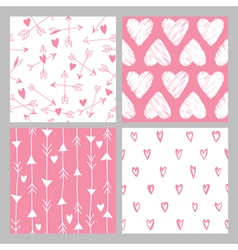 Valentines day heart patterns set vector