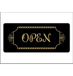 Open sign effect of gold vector