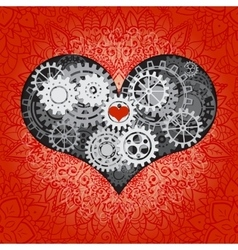 Heart as a mechanism made of cogs and gears vector