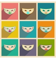 Concept of flat icons with long shadow carnival vector