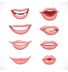 Female lips in nature colors isolated on a white vector
