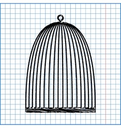 Bird cage with pen effect on paper vector