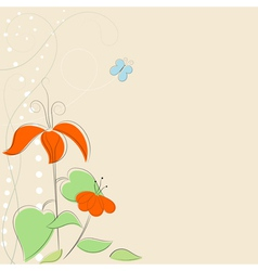 Background with stylized flowers and butterfly EPS vector image