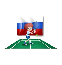 A tennis player in front of the Russian flag vector image