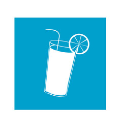 blue square frame with cocktail glass vector image