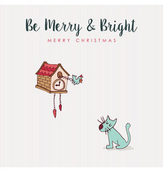 Christmas fun cat and bird hooliday cartoon card vector