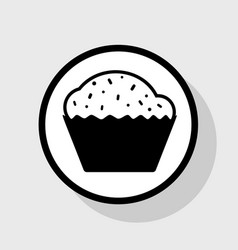 Cupcake sign flat black icon in white vector