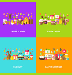 Easter holiday greeting set vector
