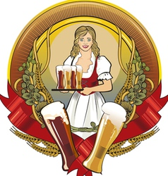 girl beer waitress radial vector image vector image