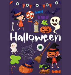 halloween poster with kids in costumes vector image