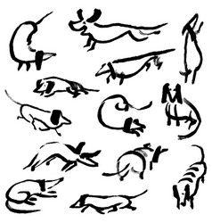 Hand drawn doodle dachshund dogs set vector