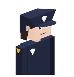 Lego silhouette with policeman half body vector