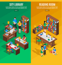 library isometric vertical banners vector image vector image