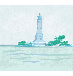 Lighthouse seen from a tiny beach - grunge poster vector