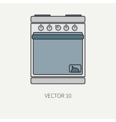 Line flat color kitchenware icons - oven vector image vector image
