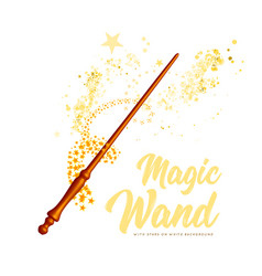 magic wand with stars on white background vector image vector image