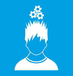 Man with metal gears over head icon white vector