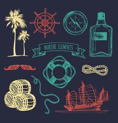 Marine set hand sketched sea vector