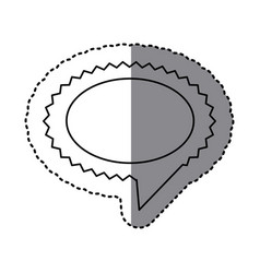 monochrome sticker of oval speech with sawtooth vector image vector image