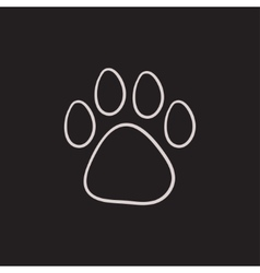 Paw print sketch icon vector