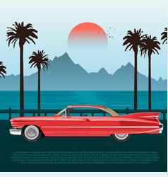 red retro car on road near blue sea or ocean vector image vector image