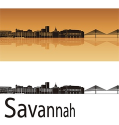 Savannah skyline in orange background vector image
