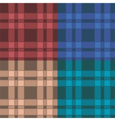 Set of seamless patterns with plaid vector image vector image