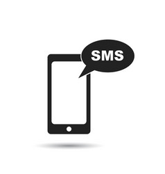 smartphone with sms message icon flat mobile vector image