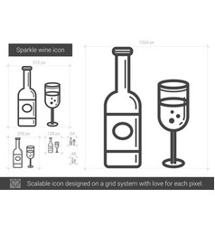 sparkle wine line icon vector image