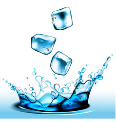 splash of liquid from falling pieces of ice high vector image
