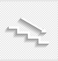 Stair down with arrow white icon with vector