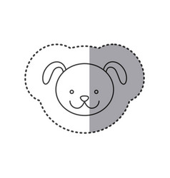 sticker of grayscale contour with face of dog vector image vector image