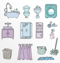Various types of furniture for bathroom in elegant vector