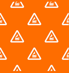 warning sign railway crossing without barrier vector image vector image