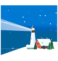 Winter mountains lighthouse vector image vector image