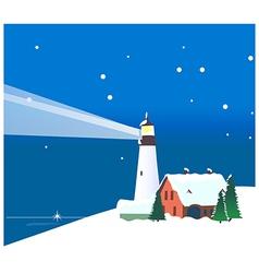 Winter mountains lighthouse vector