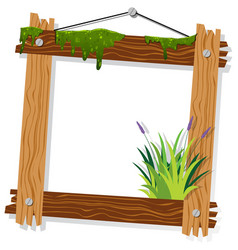 Wooden frame with moss and grass vector