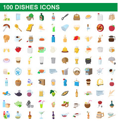 100 dishes icons set cartoon style vector image vector image