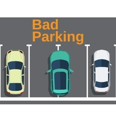 Bad parking cars top view vector