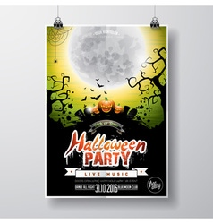 Halloween party flyer with pumpkins and moon vector
