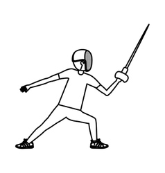 Silhouette of boy fencing design vector