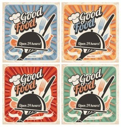 Set of retro restaurant posters vector image