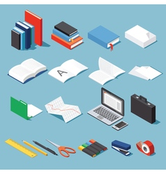 Isometric office equipment set vector