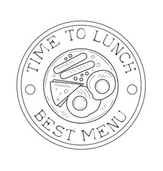 Round frame cafe lunch menu promo sign in sketch vector