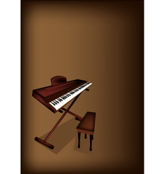 A Retro Synthesizer on Dark Brown Background vector image