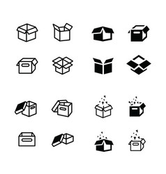 Set of parcel box open box icons set vector