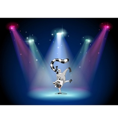 A lemur performing a show on stage vector