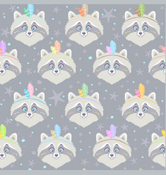 seamless raccoon gray vector image