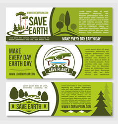 Save nature planet earth protection banners vector